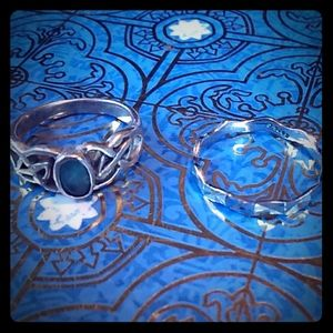 Sterling silver 2 ring set size 6 aquamarine